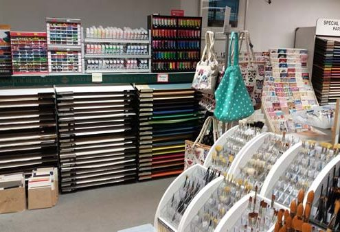 Watercolour Papers, crafters choice pots of acrylic, tester tubes of acrylic, caran d'ache products.