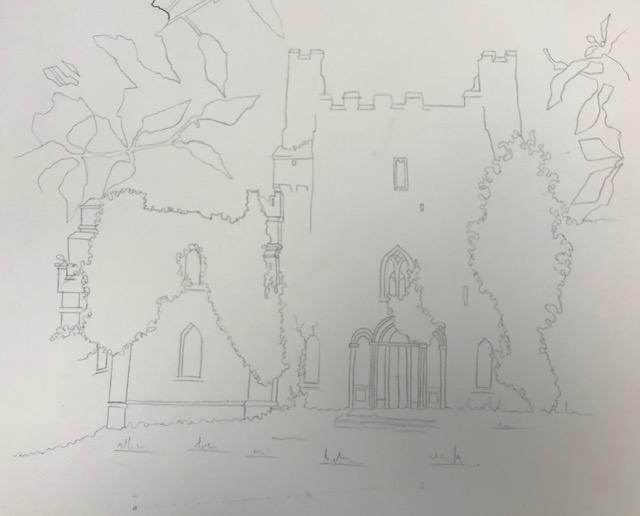 HB pencil sketch of Leap Castle