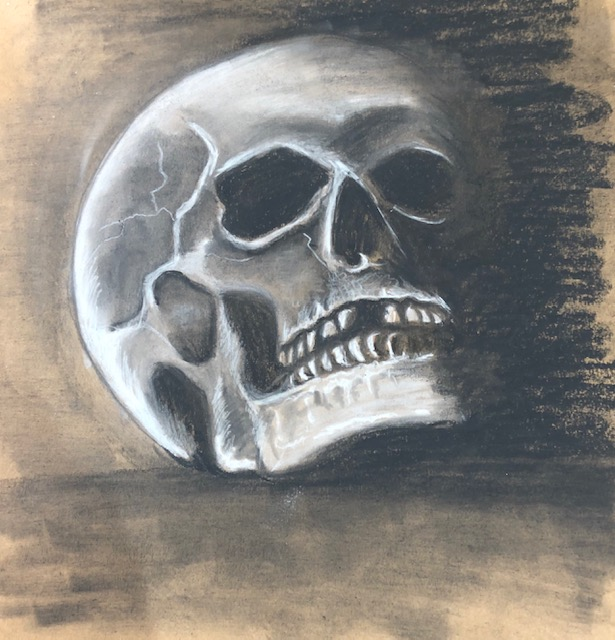 the finished drawing - a charcoal skull