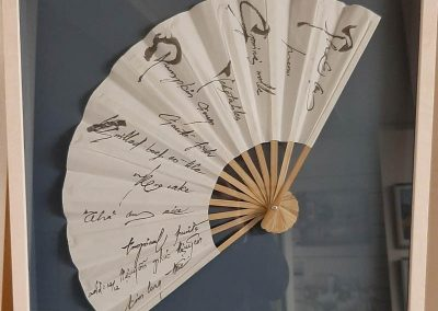 framed fan - spread with signatures