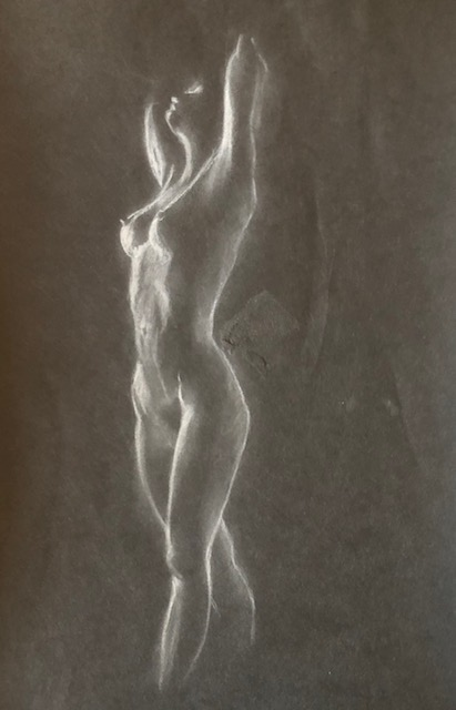 black paper with white pencil