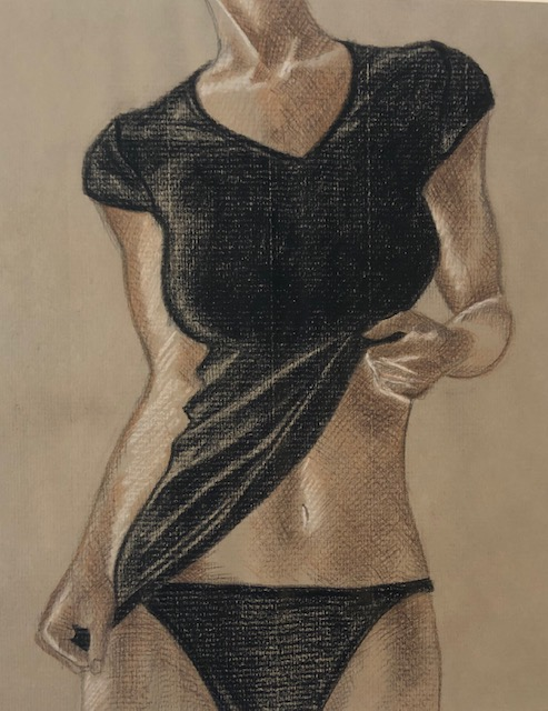Woman in coloured pencils on pastel paper