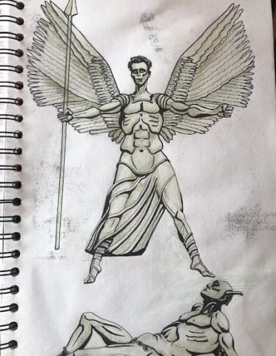 Coventry Cathedral front entrance statue pen and ink with colour pencils