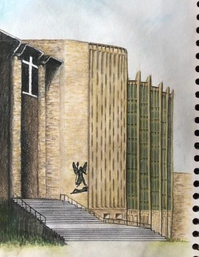 Coventry Cathedral front view - coloured pencils