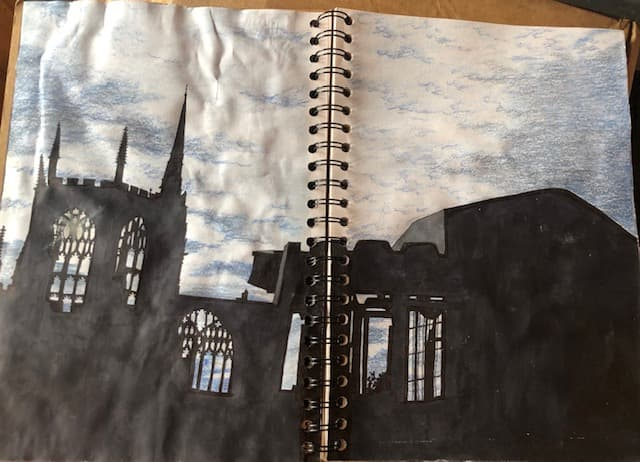 Coventry Cathedral - pen, ink & coloured pencils