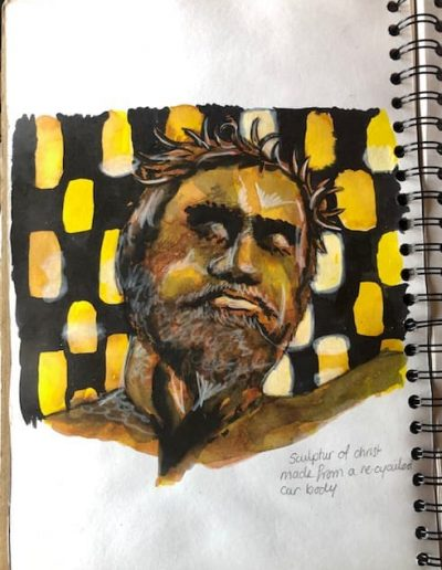 Coventry Cathedral statue of Christ - watercolour, ink & white pastel
