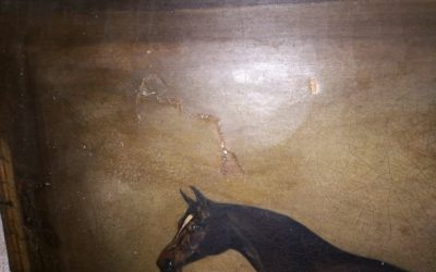 Damaged painting and frame