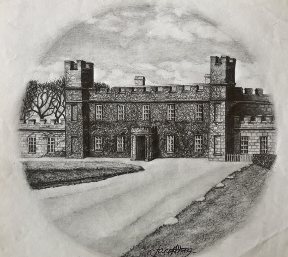 drawing of manor house in Cornwall
