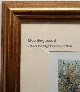frame mounting board discolouration