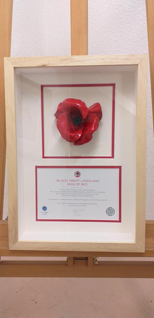 framed ceramic poppy