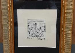 framed picasso drawing