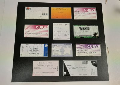 framed ticket collection