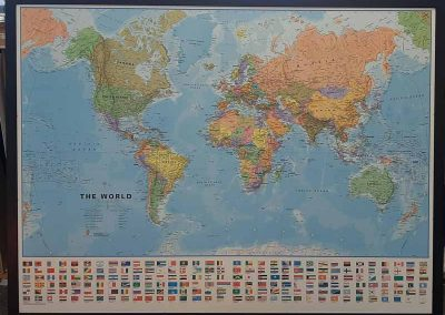 Picture of world map framed
