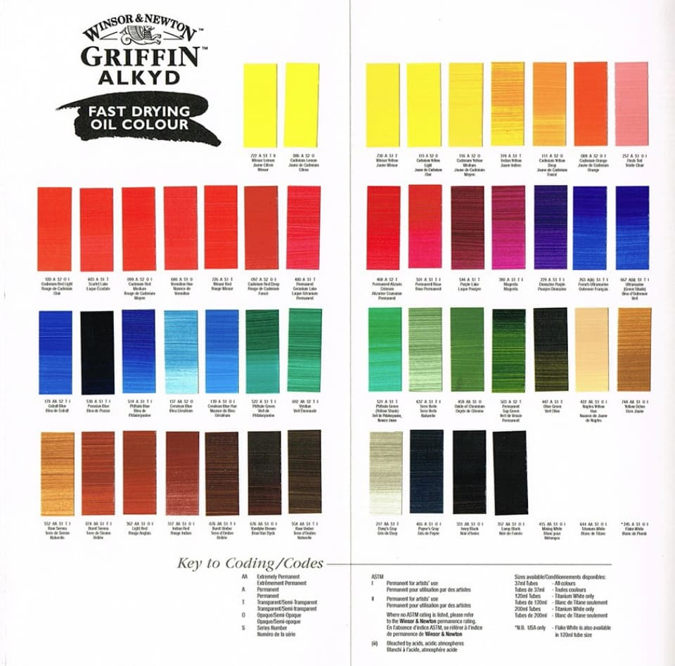 griffin alkyd oil colour chart