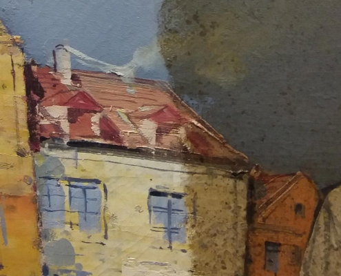 half cleaned oil painting close up