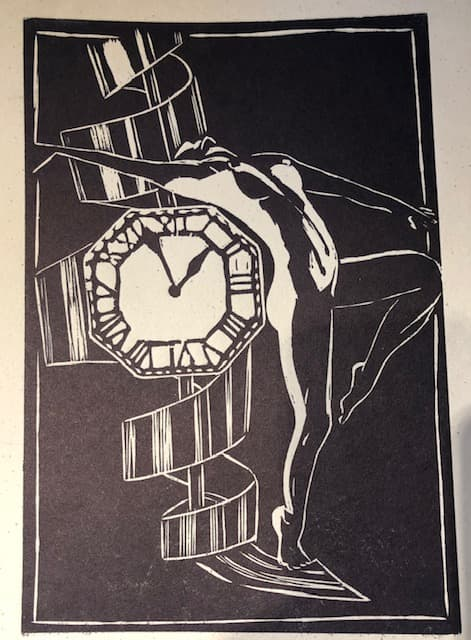 Lino print - naked woman and a watch face