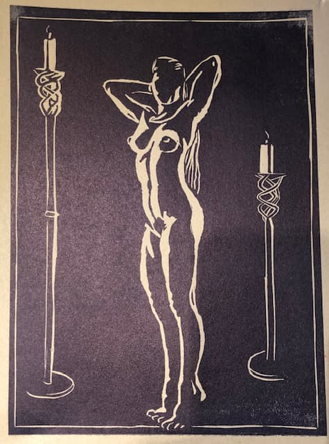 Lino print -naked woman and 2 candles