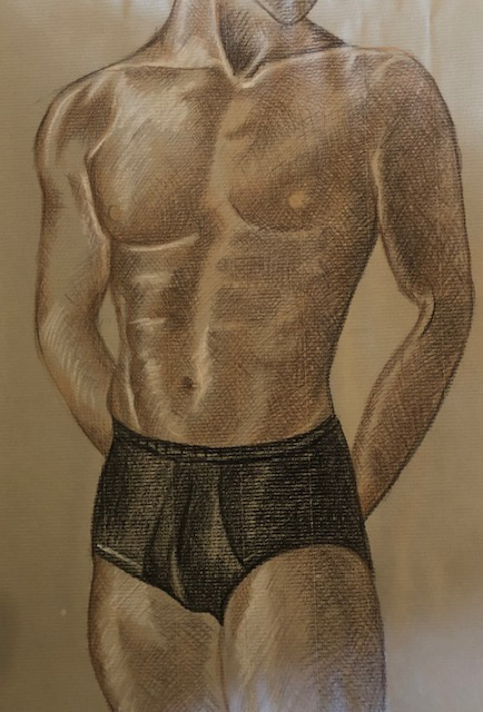 man in coloured pencils on pastel paper