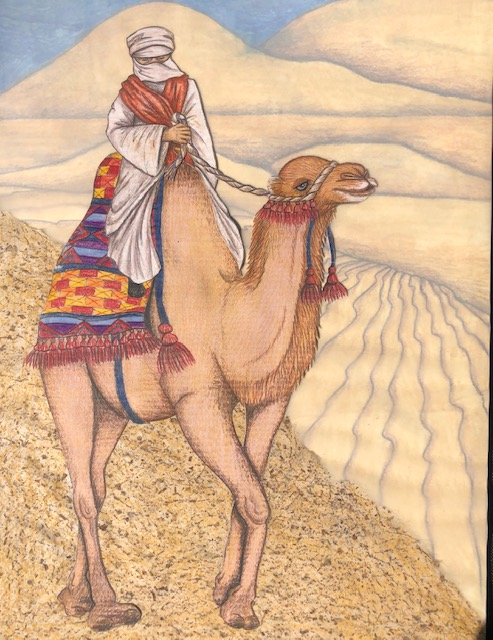 mixed media book illustration- camel