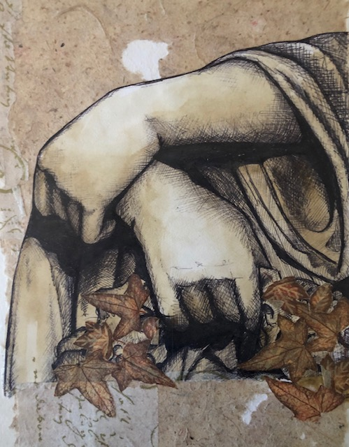 Hands in pen and ink on handmade paper