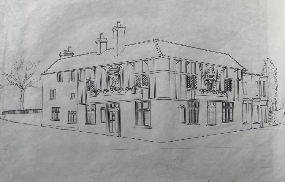 Perspective drawing of the White Horse public house