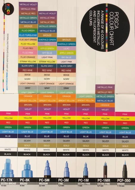 Posca Pen colour chart