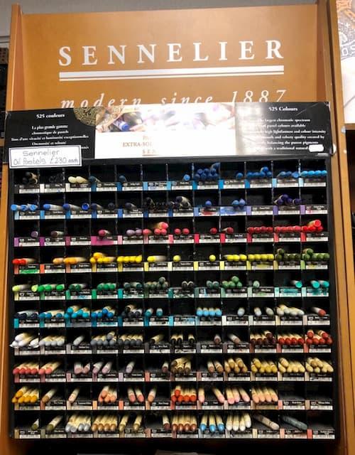 rack of sennelier oil pastels