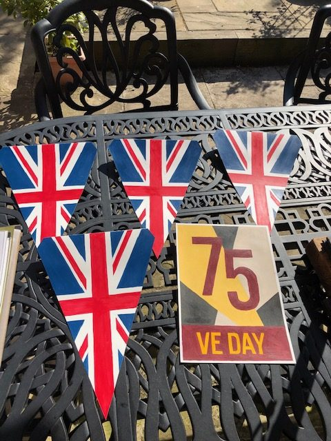 VE Day Bunting ready to attach