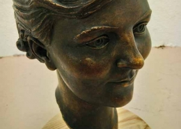 repaired bronze bust