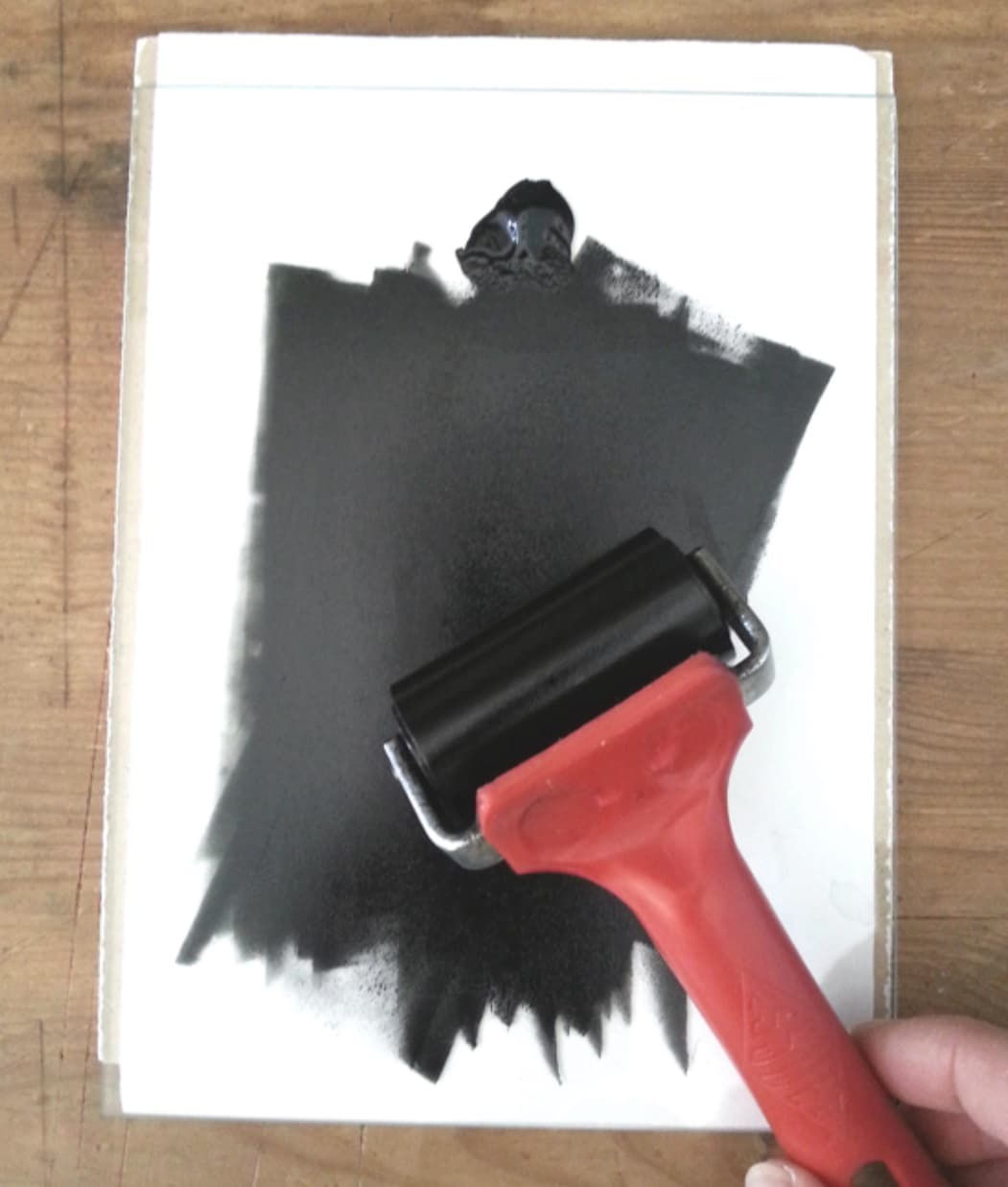 roller covered in ink