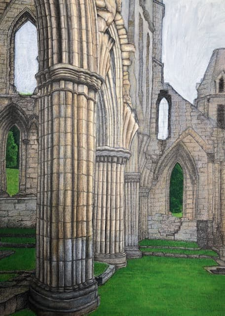 ruined abbey in coloured pencils