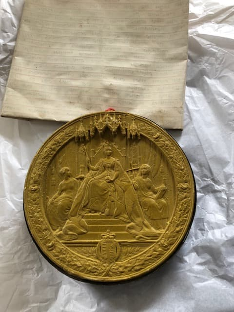 Seal showing Queen Victoria on throne