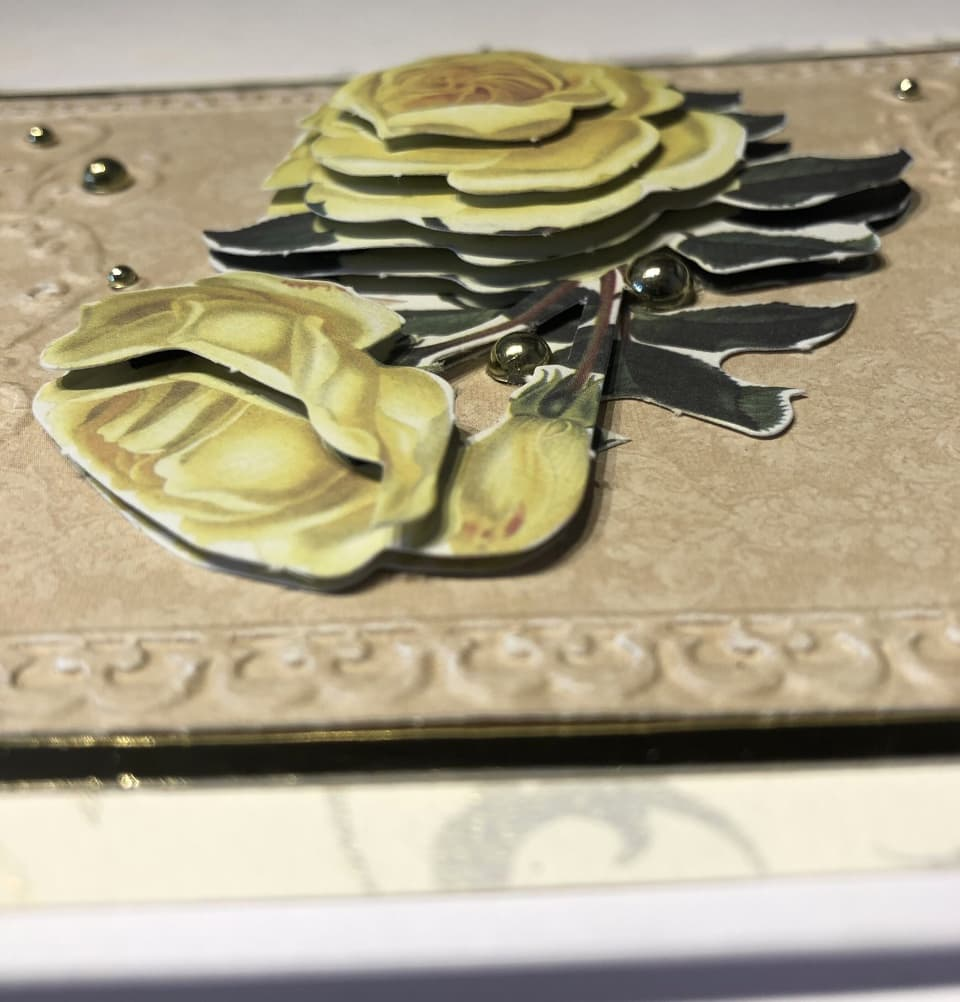 side-on view of decoupage layers
