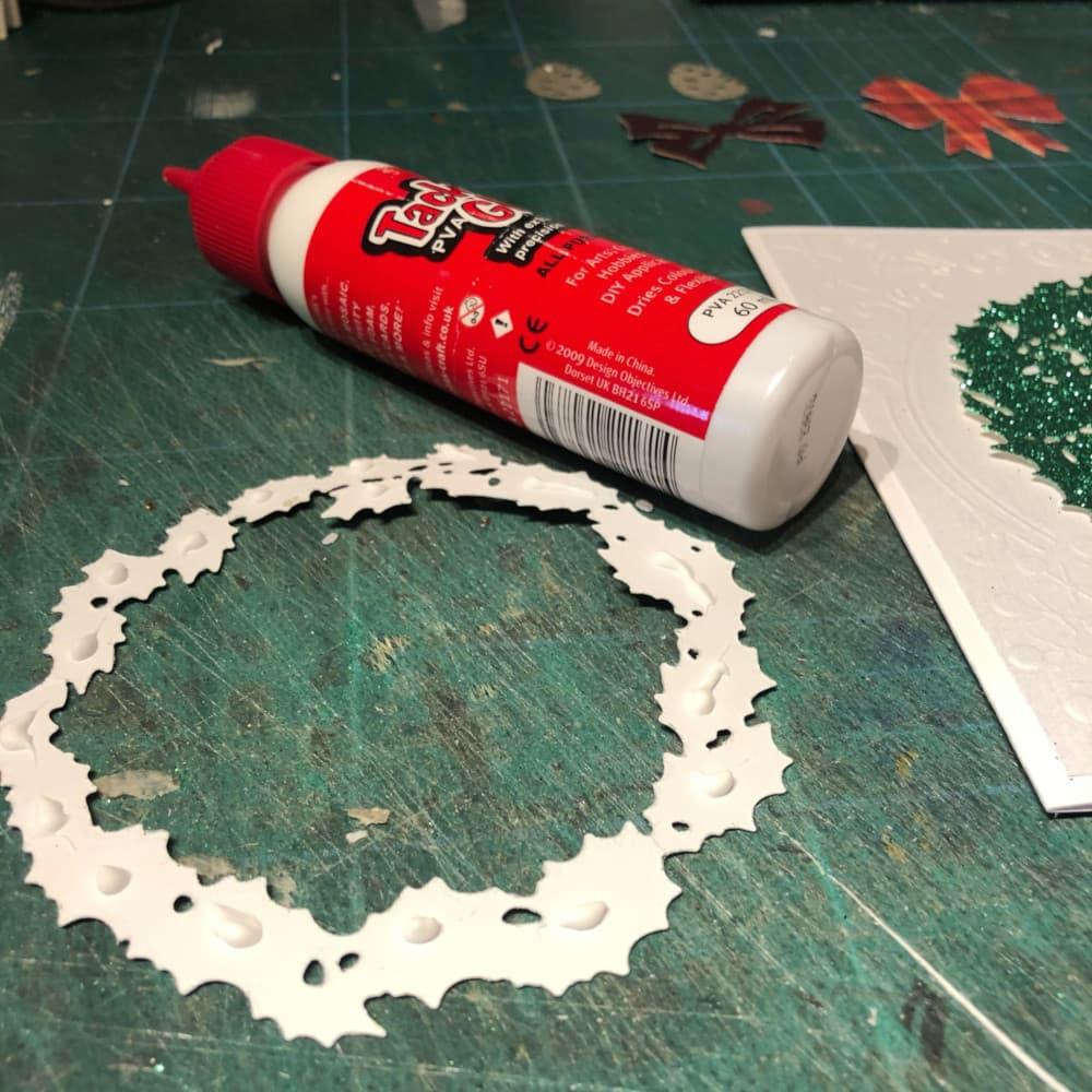 smaller wreath glued