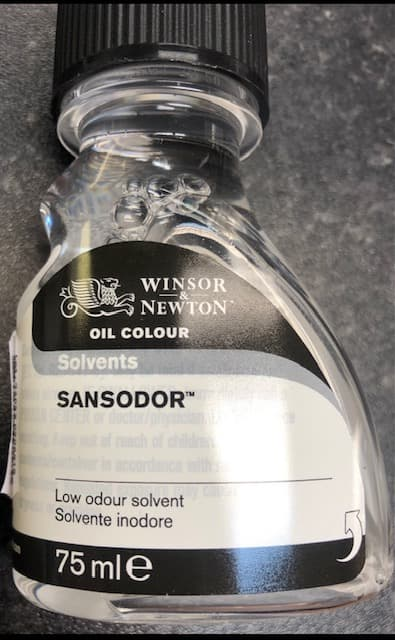 Solvent for cleaning oil paints off brushes
