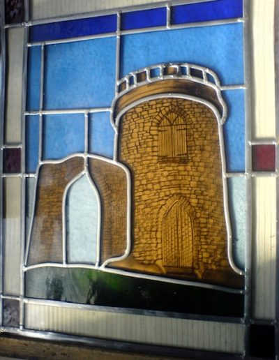 Stained glass picture of the Tower at Bradgate Park, Leicestershire