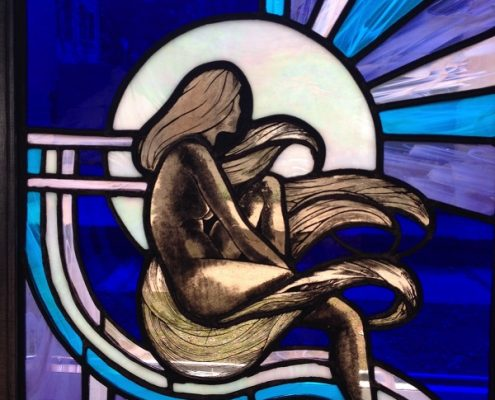 Stained glass firescreen by Jane Liddle