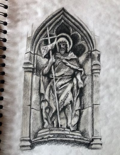 Stanford church front entrance statue - pastel