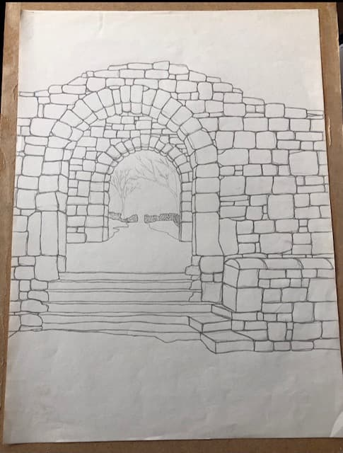 Stone arches line drawing