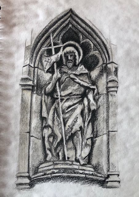 stone carving in soft pastel