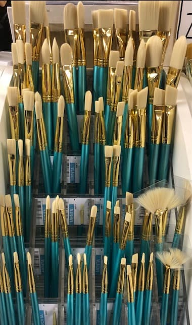 synthetic white bristle brushes with long handles