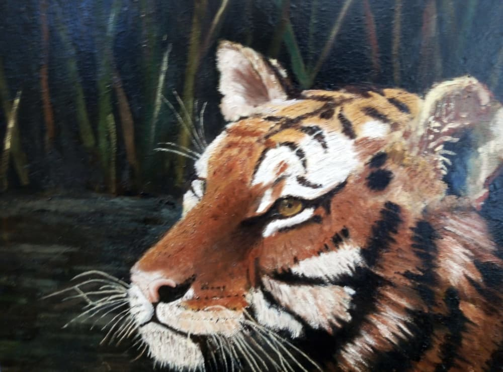 The tiger painting cleaned and restored