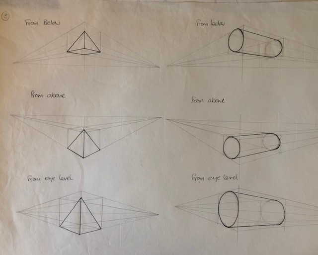 triangle and cylinder in perspective