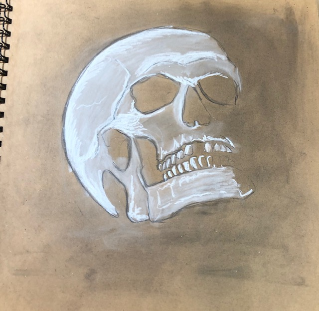using white charcoal to create highlights